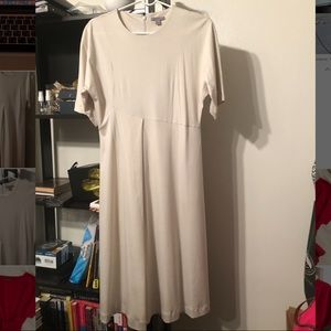 Comfortable Beige Jersey Dress with Seams - COS US